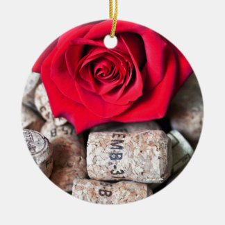 TALK ROSE with cork Round Ceramic Ornament