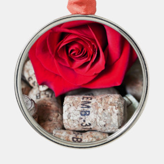TALK ROSE with cork Silver-Colored Round Ornament
