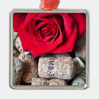 TALK ROSE with cork Silver-Colored Square Ornament