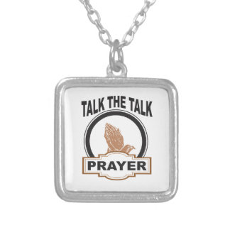 Talk the talk prayer silver plated necklace