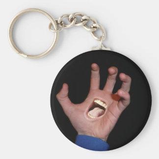 Talk to the hand basic round button keychain