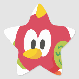 talking bird walking star sticker