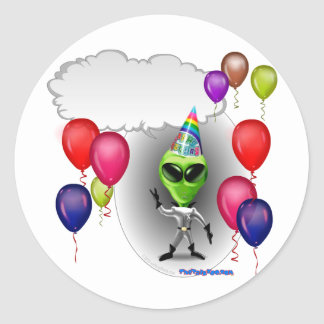 Talking Birthday Party Alien Classic Round Sticker
