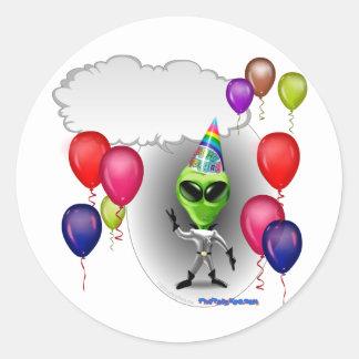 Talking Birthday Party Alien Round Sticker