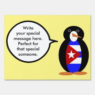 Talking Cuban Flag Penguin Sign