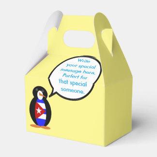 Talking Cuban Flag Penguin Wedding Favor Boxes