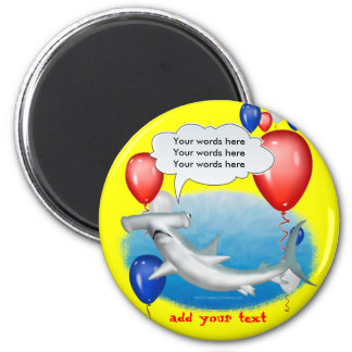 talking hammerhead shark 2 inch round magnet