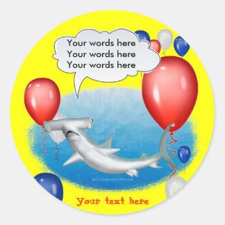 talking hammerhead shark round sticker