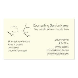 Talking Heads, line-art logo of two heads talking Business Card