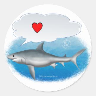 "Talking ""I heart"" shark Round Sticker"