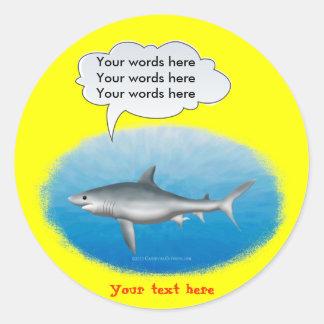 Talking Shark Template Round Sticker