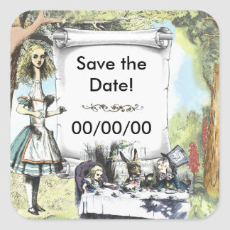 Tall Alice 1 Save the Date Square Sticker
