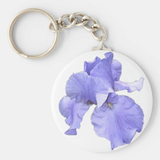 Tall Bearded Purple Iris Basic Round Button Keychain