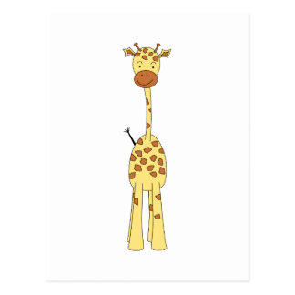 Tall Cute Giraffe. Cartoon Animal. Postcard