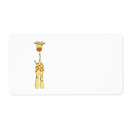 Tall Cute Giraffe. Cartoon Animal. Shipping Label