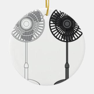 Tall Fan Round Ceramic Ornament