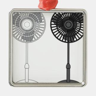 Tall Fan Silver-Colored Square Ornament
