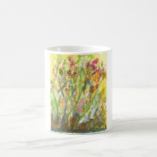 Tall flowers on a yellow ground mug
