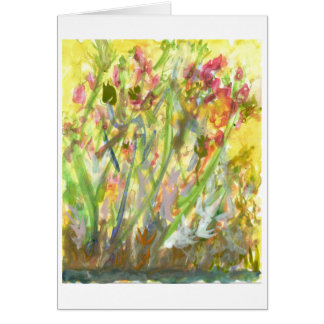 Tall flowers on a yellow ground note card