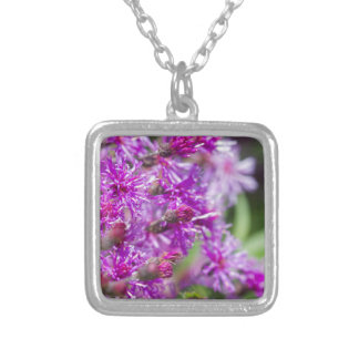 Tall Ironweed Wildflowers Silver Plated Necklace