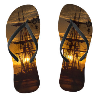 Tall-masted Sailing Ship at Sunset Flip Flops