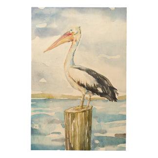 tall pelican wood print