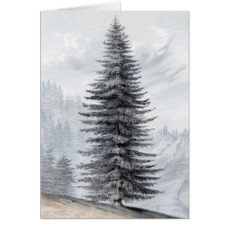Tall Pine Winter Scene Vintage Christmas Card