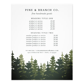 Tall Pines Pricing & Services Full Colour Flyer