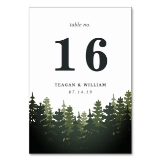 Tall Pines Table Number Card