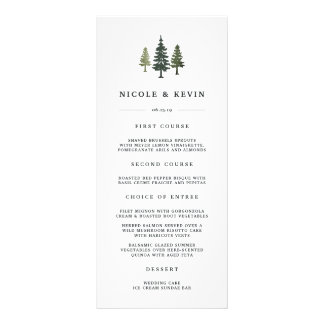 Tall Pines Wedding Menu Card