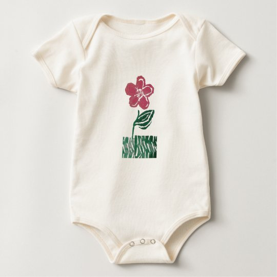 tall pink flower baby bodysuit