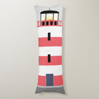 Tall Red and White Lighthouse Body Pillow
