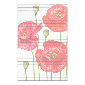 Tall Red Flowers Stationery Design