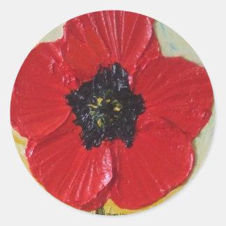 Tall Red Poppy II Round Sticker