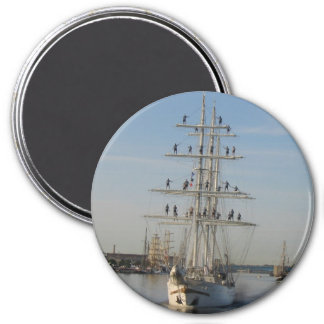 Tall Ship 3 Inch Round Magnet