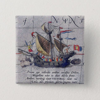 Tall Ship and Map of Pacific Ocean 2 Inch Square Button