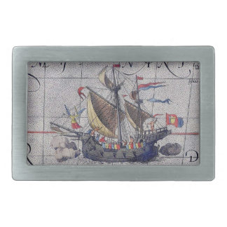 Tall Ship and Map of Pacific Ocean Belt Buckles