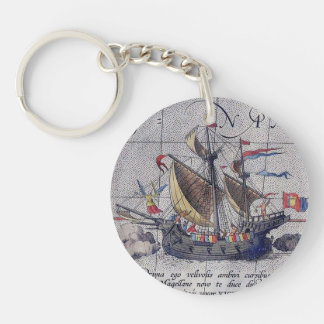 Tall Ship and Map of Pacific Ocean Double-Sided Round Acrylic Keychain
