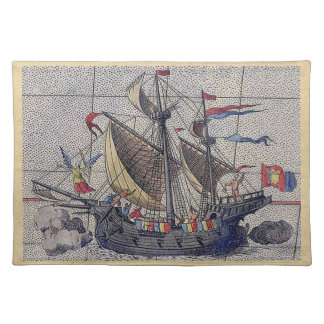 Tall Ship and Map of Pacific Ocean Place Mats