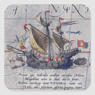 Tall Ship and Map of Pacific Ocean Square Sticker