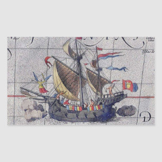 Tall Ship and Map of Pacific Ocean Sticker