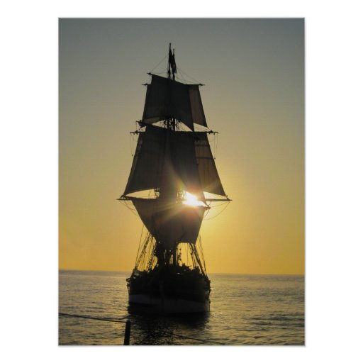 Tall Ship at Sunset Poster