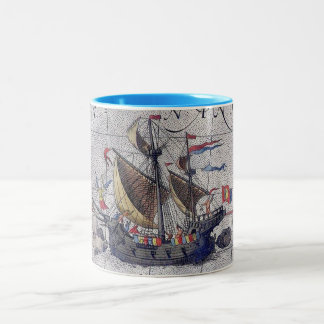 Tall Ship Map of the Pacific Ocean Two-Tone Coffee Mug