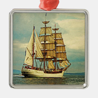 Tall Ship Metal Ornament