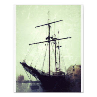 Tall Ship On River Street Art Photo