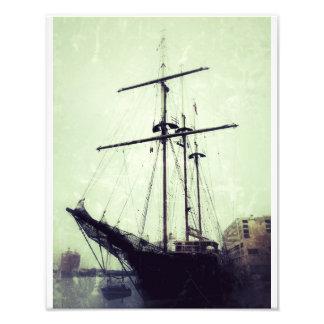 Tall Ship On River Street Art Photo