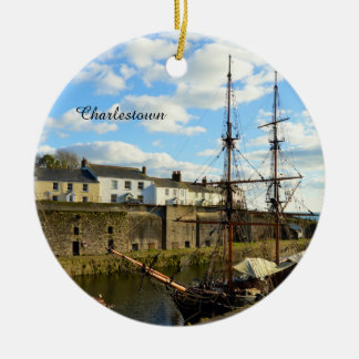 Tall Ships Charlestown Harbour Cornwall England Ceramic Ornament