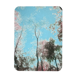 Tall Trees with Maroons, White and Blue Colors Rectangular Photo Magnet