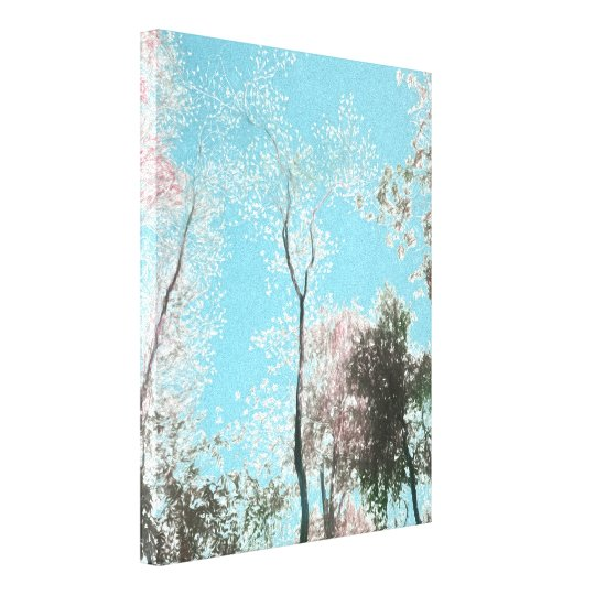 Tall Trees with Maroons, White and Blue Colours Canvas Print