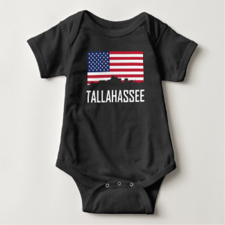 Tallahassee Florida Skyline American Flag Baby Bodysuit